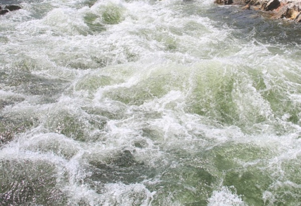 rushing water, river, river current
