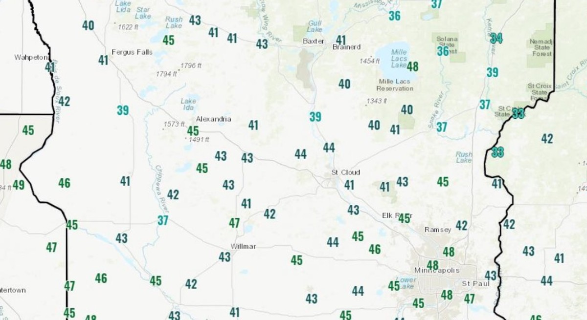 Low temps Thursday morning in central Minnesota.