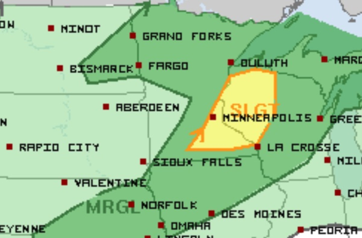 The area shaded in yellow has the best chance for severe storms Monday.