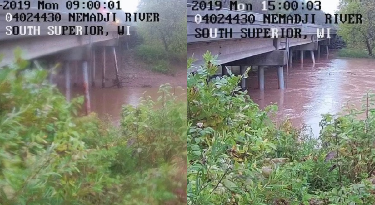 Before and after images of the Nemadji River near Superior.