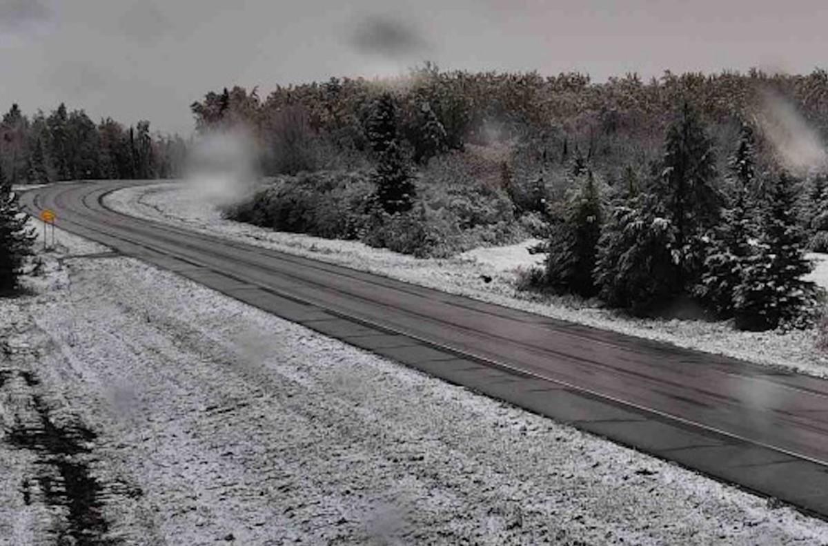 Snow on the ground north of Orr, near Ash Lake, Minnesota.