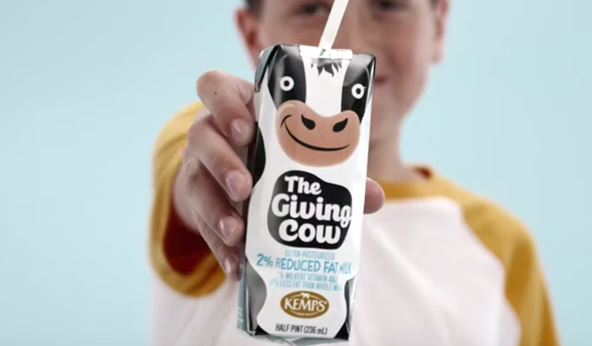 """Kemps' shelf-stable """"Giving Cow Project"""" milk"""