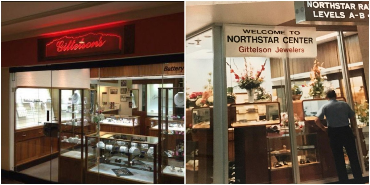 Gittelson's as it looks now (left), compared to how it looked in the '80s (right).