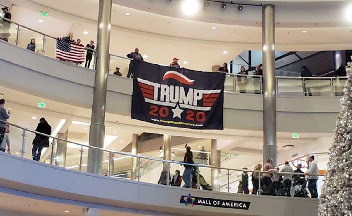 """Trump Flag Drop"" at Mall of America."