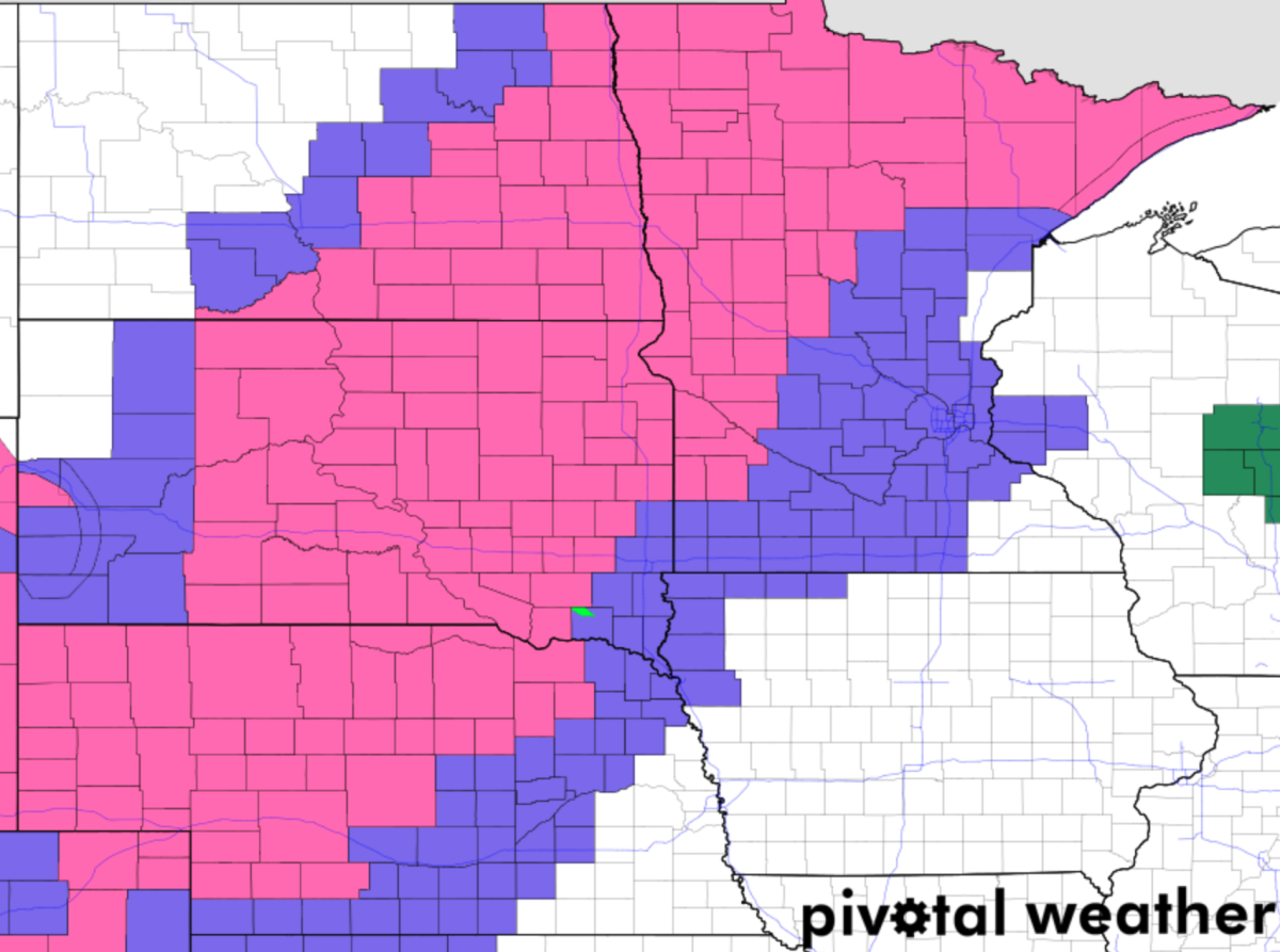 Pink is the winter storm warning, purple is the winter weather advisory.