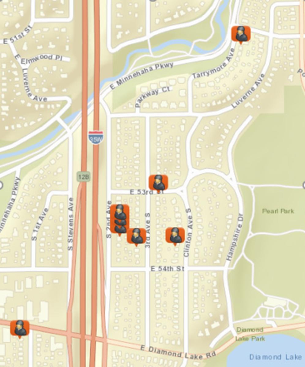 Map of garage burglaries