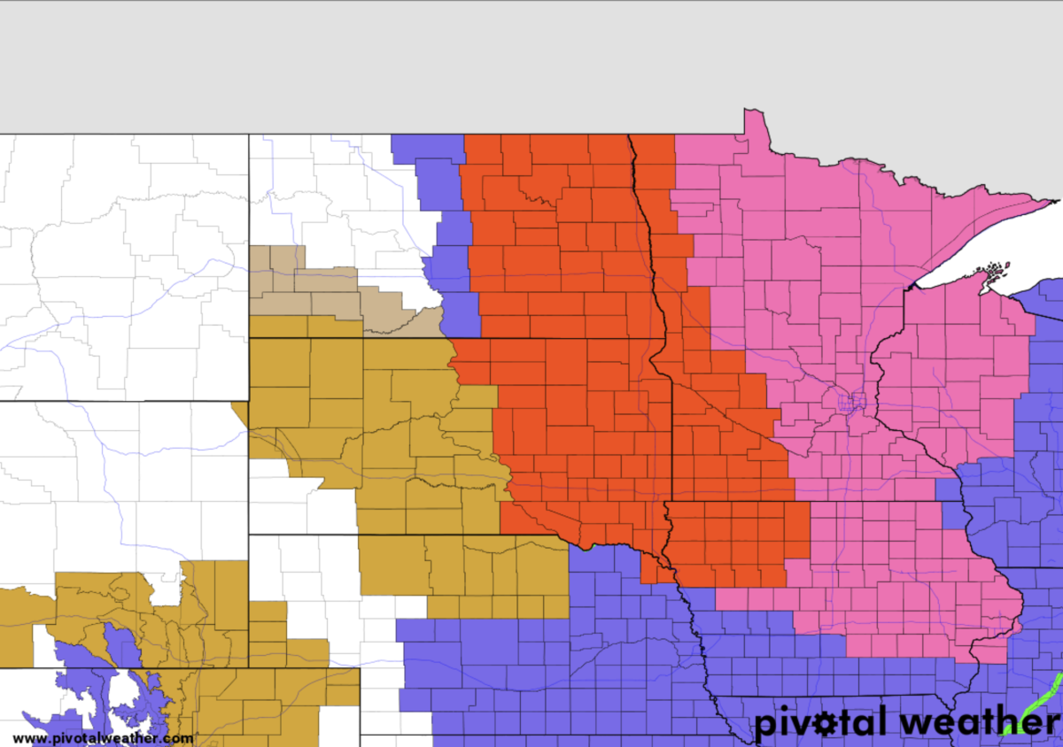 Red (blizzard warning), Pink (winter storm warning)