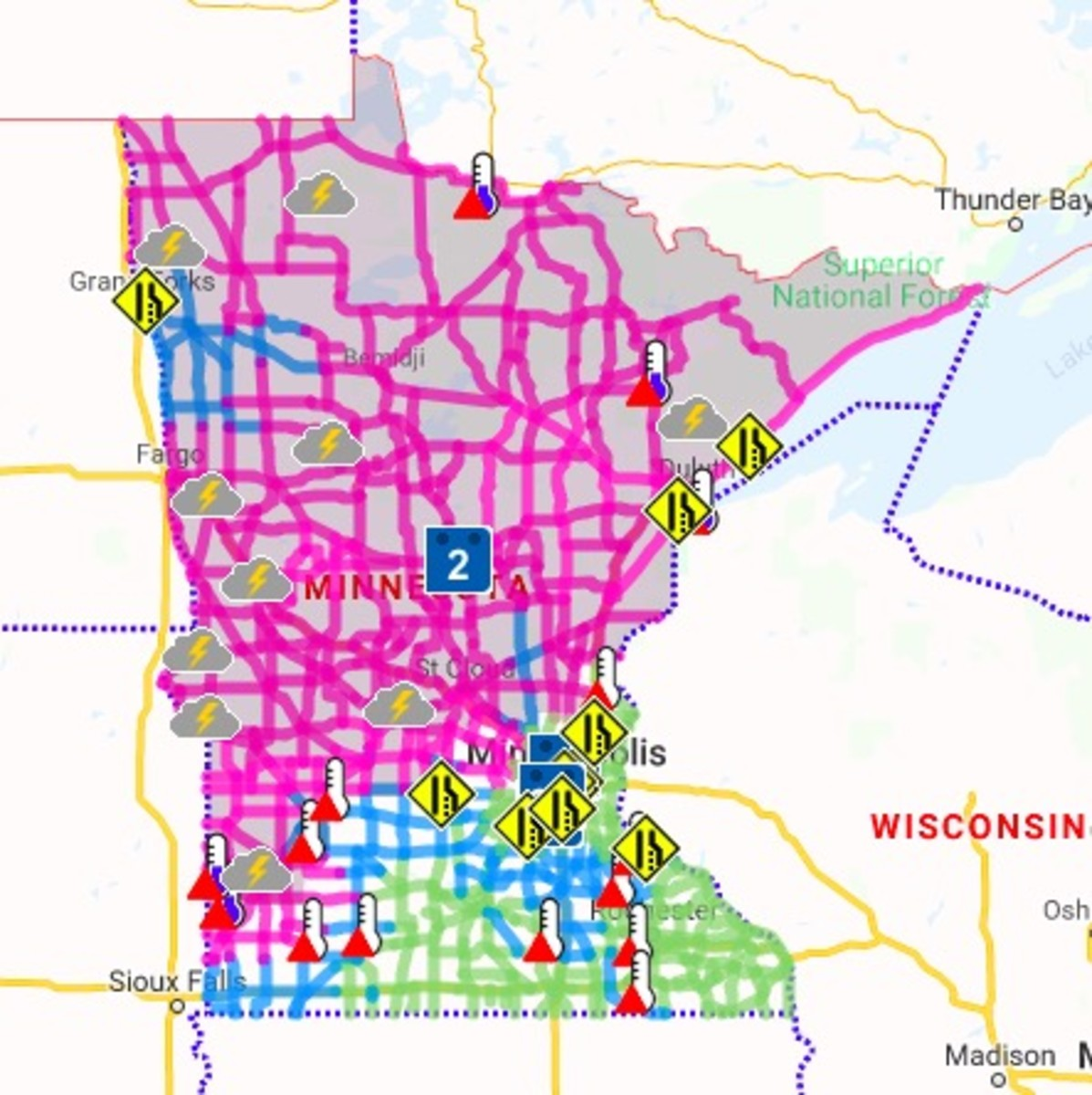 Pink roads are completely covered in snow, with blue partially covered.