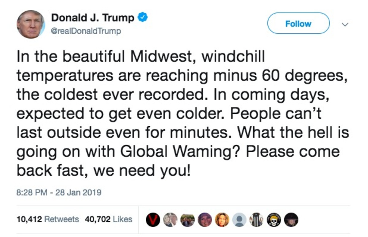 Image result for president trump climate change tweet