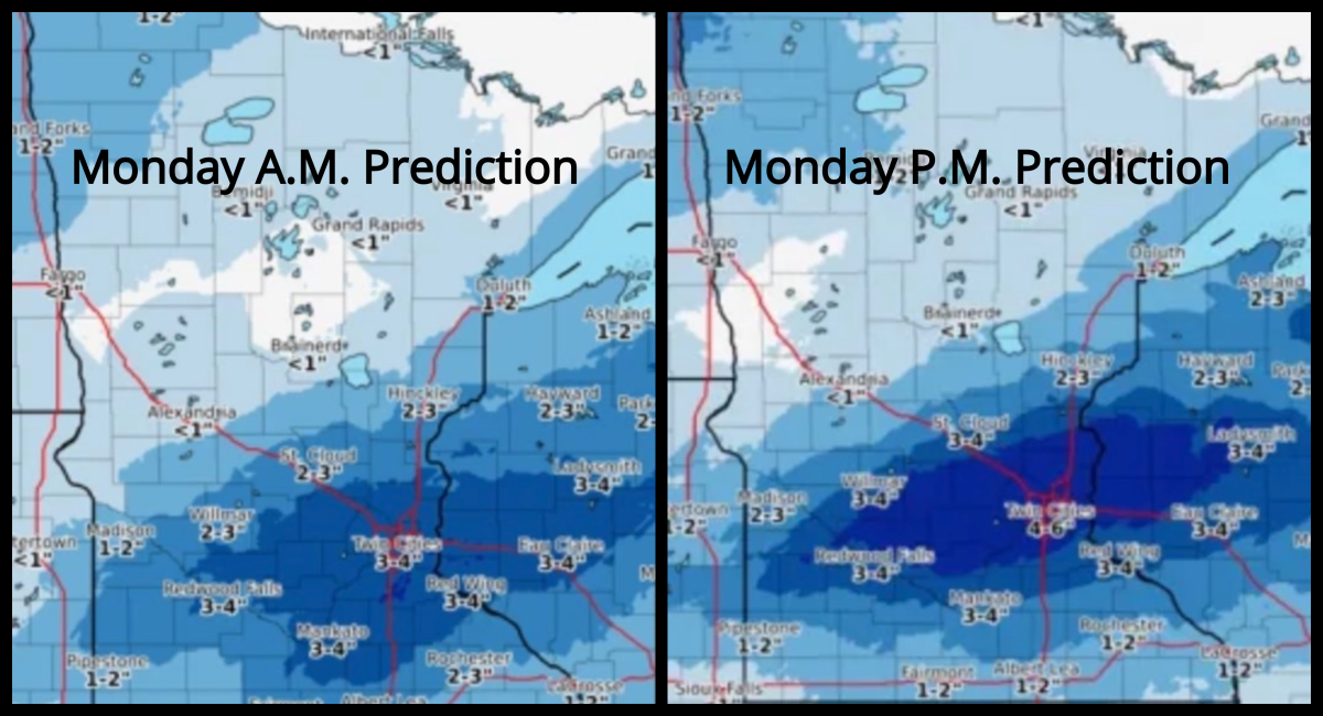 On the left is the Tuesday snowfall forecast issued Monday morning. On the right is the Tuesday snowfall forecast issued Monday afternoon.
