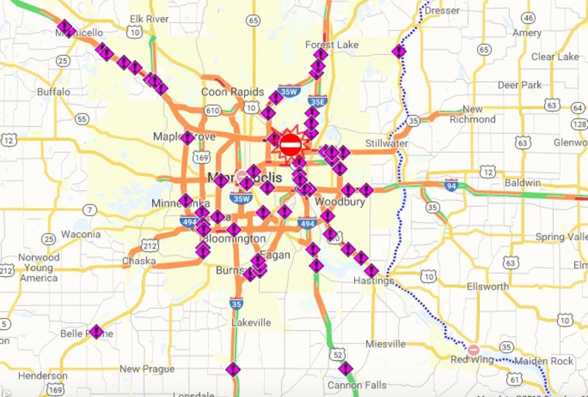 All of the purple markers represent crashes (as of 1:40 p.m.)