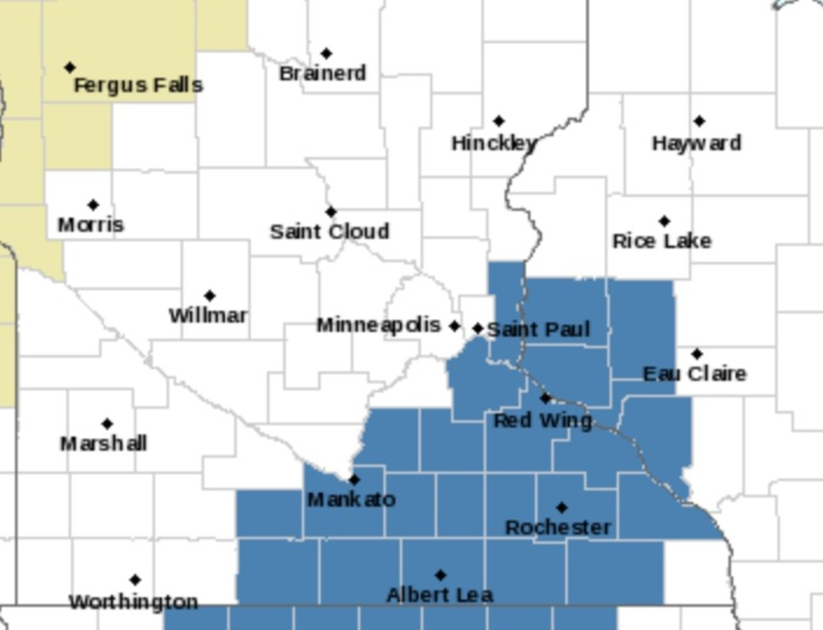Areas shaded in blue are in a winter storm watch for Tuesday night through Wednesday.