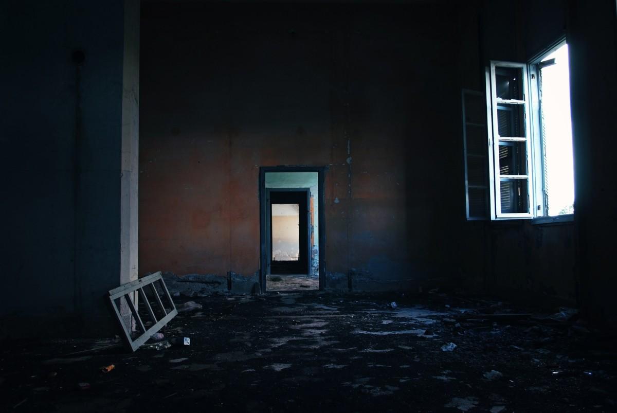 broken window, abandoned building