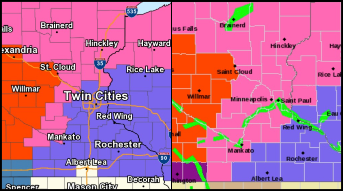 Red means blizzard warning, pink is a winter storm warning and purple is a winter weather advisory. The map on the right is the updated map.