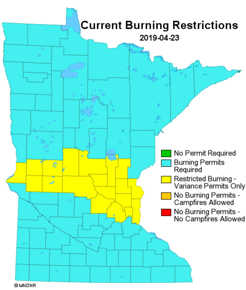 DNR issues spring burning restrictions for 20 Minnesota