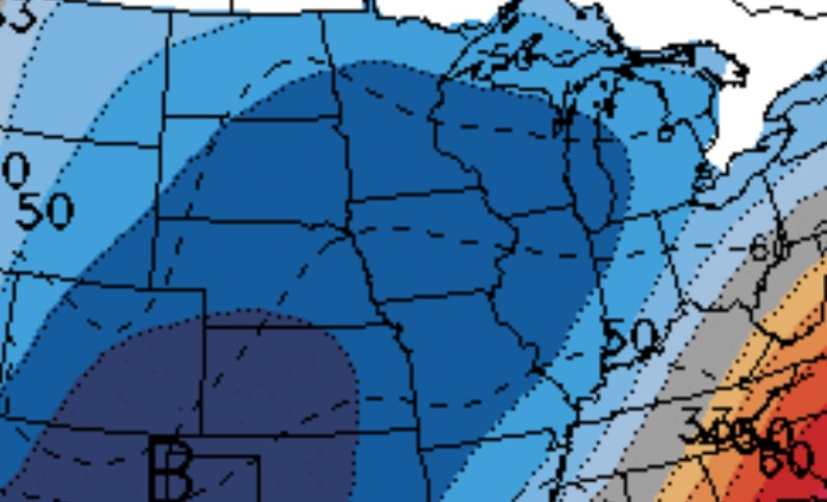 Blue on the map means colder than normal temperatures are expected.