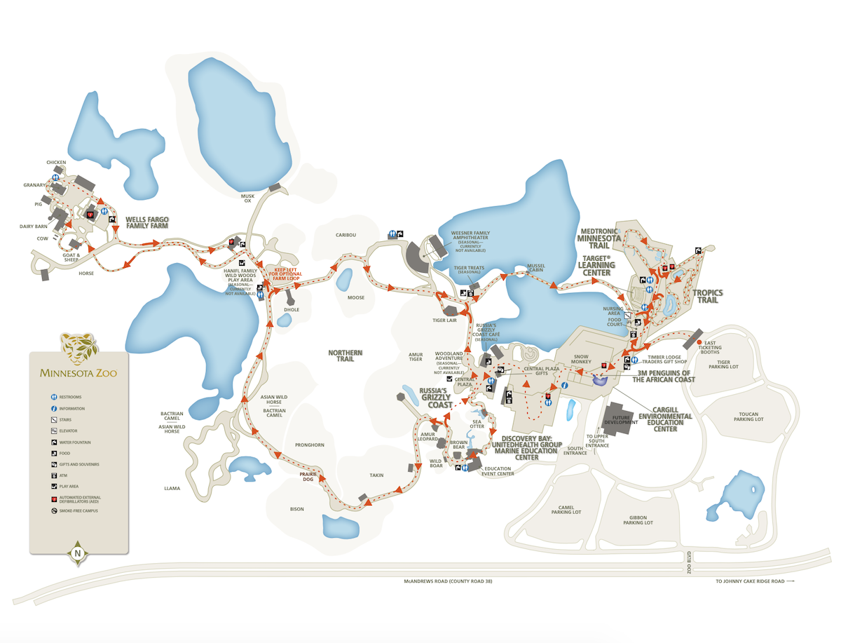 The directional path guests will take when the Minnesota Zoo reopens.