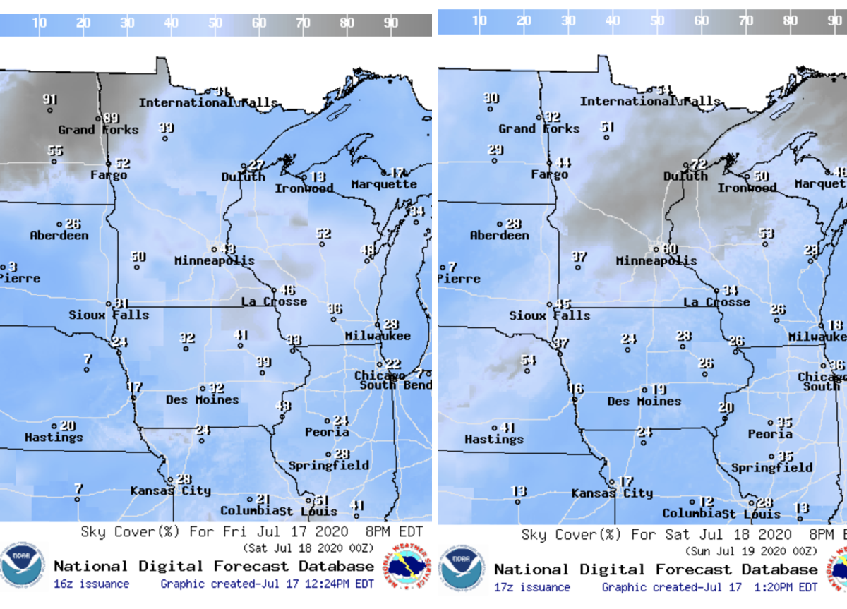 Sky cover(the percent of opaque clouds covering the sky) at 8 p.m. Friday (left) and 8 p.m. Saturday.