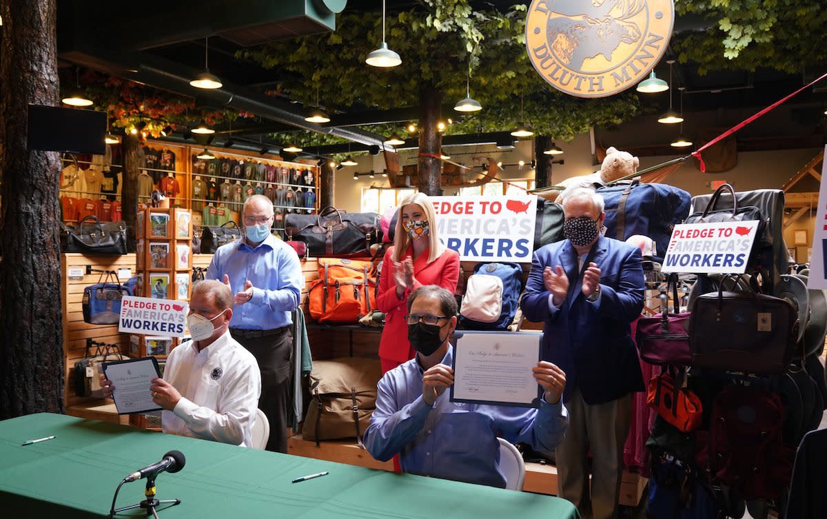 Ivanka Trump visits Duluth Pack, where the CEO signs the president's Pledge to American Workers.