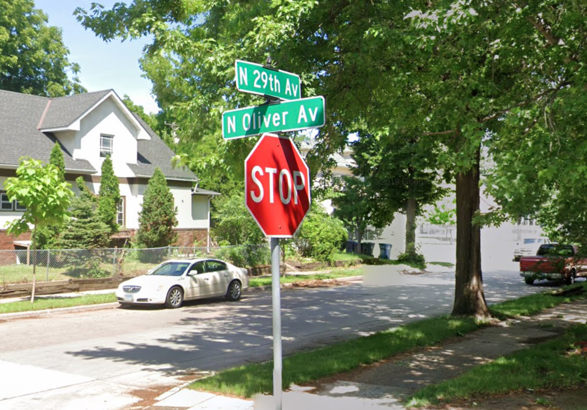 The intersection of N. Oliver Ave. and N. 29th Ave. near the scene of the shooting Monday.