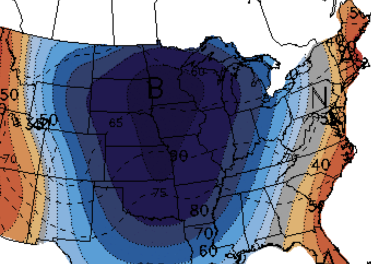 An 80% chance of below normal temps Sept. 7-11, per the CPC.