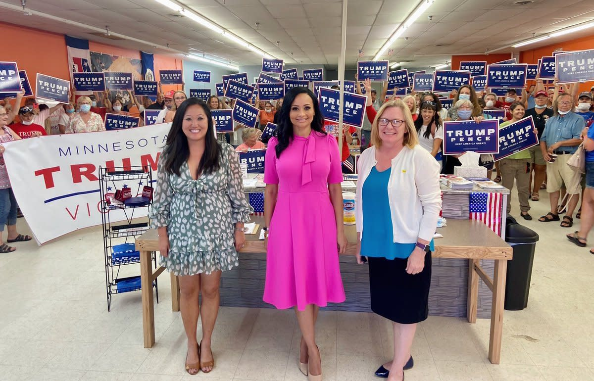 Minnesota GOP Chairwoman Jennifer Carnahan, White House senior advisor Katrina Pierson, and 7th District candidate Michelle Fischbach.