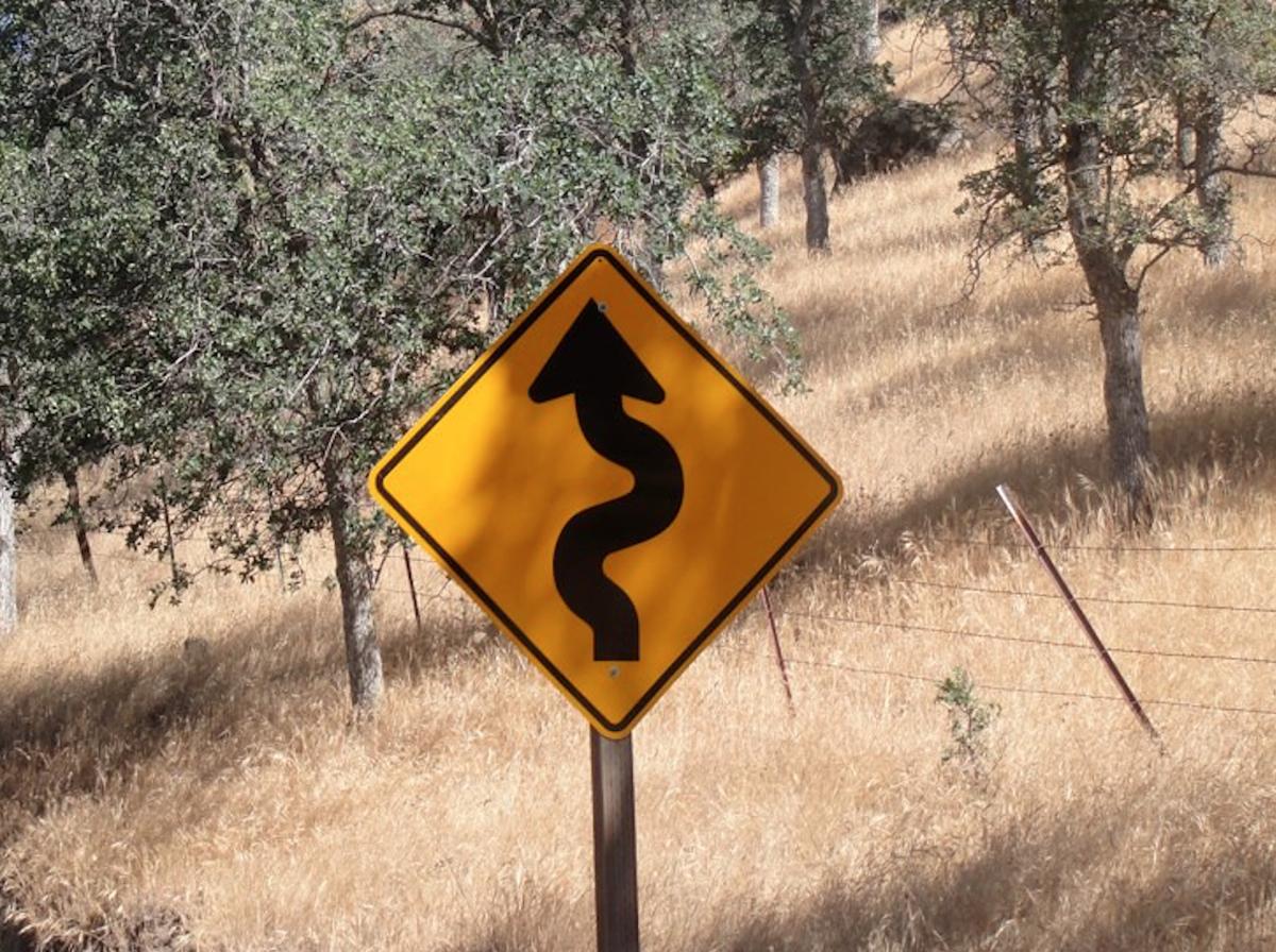 curve ahead, road sign
