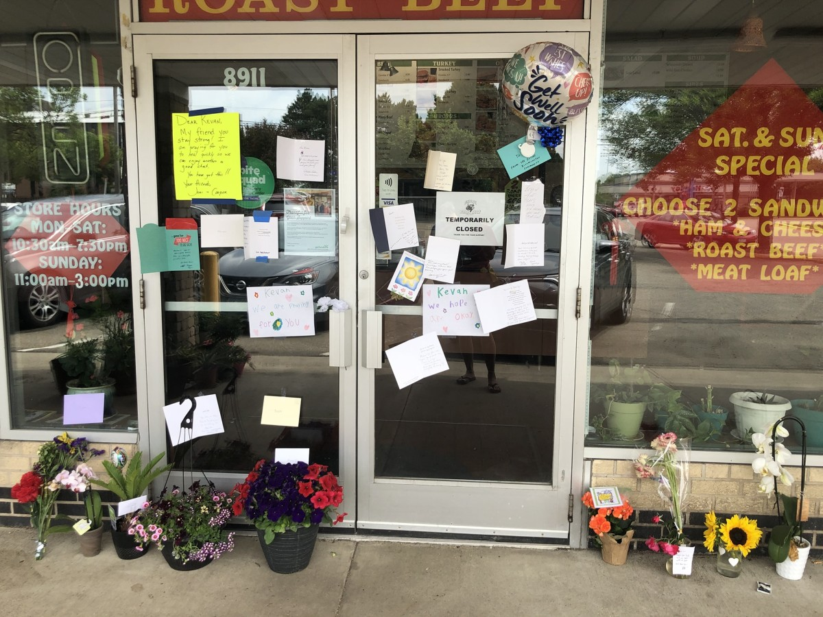 Bloomington residents left flowers and notes of encouragement for Kevan Tran after the shooting.