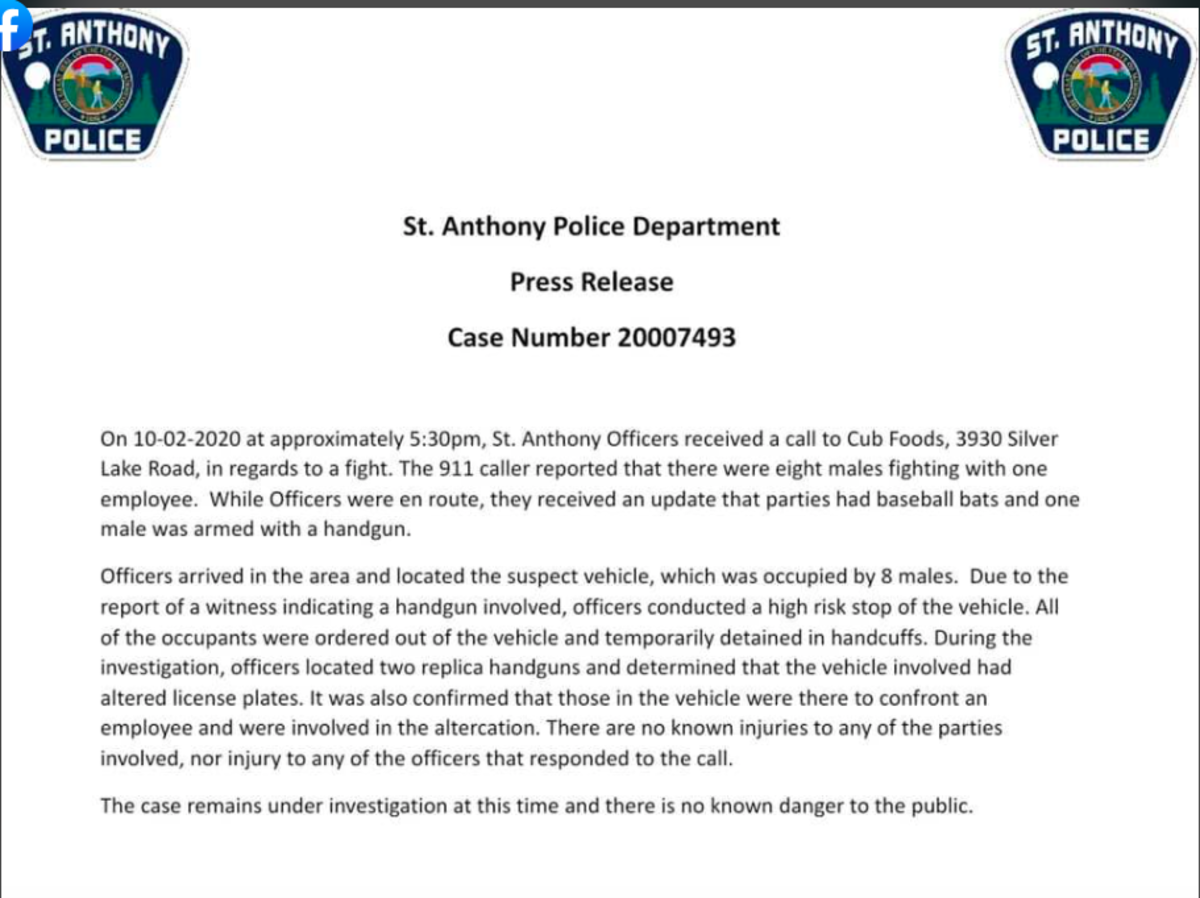 St. Anthony news release about Cub Foods incident, 10/2/20.