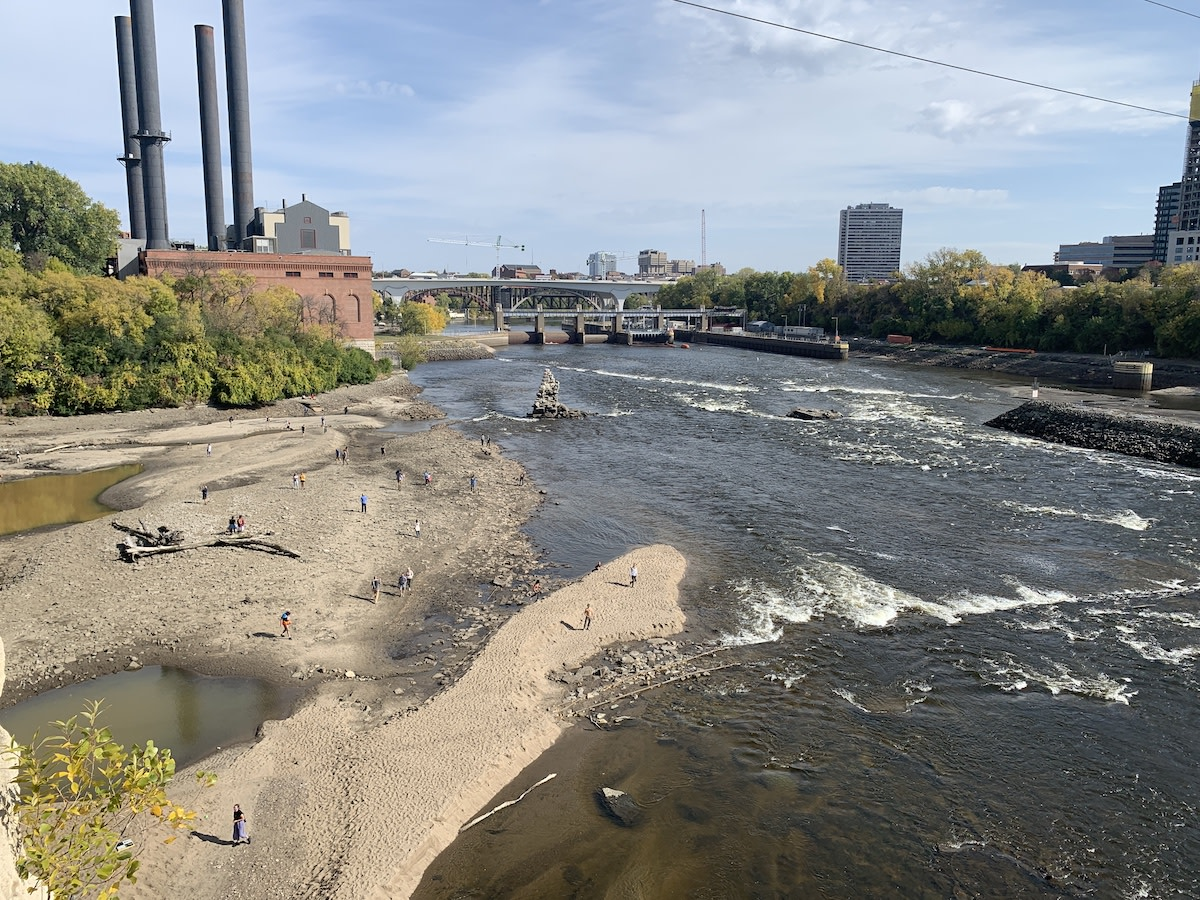 The drawdown of the Mississippi River exposed more of the riverbed and pieces of history, including the foundation of a dam built in the 1870s and a former wagon bridge.