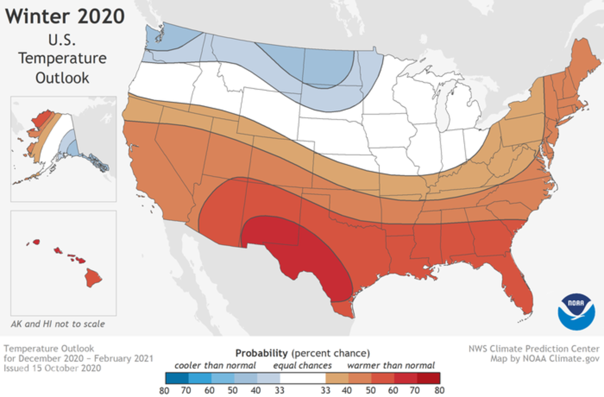 Areas shaded in blue are forecast to have colder than normal temperatures December-February.