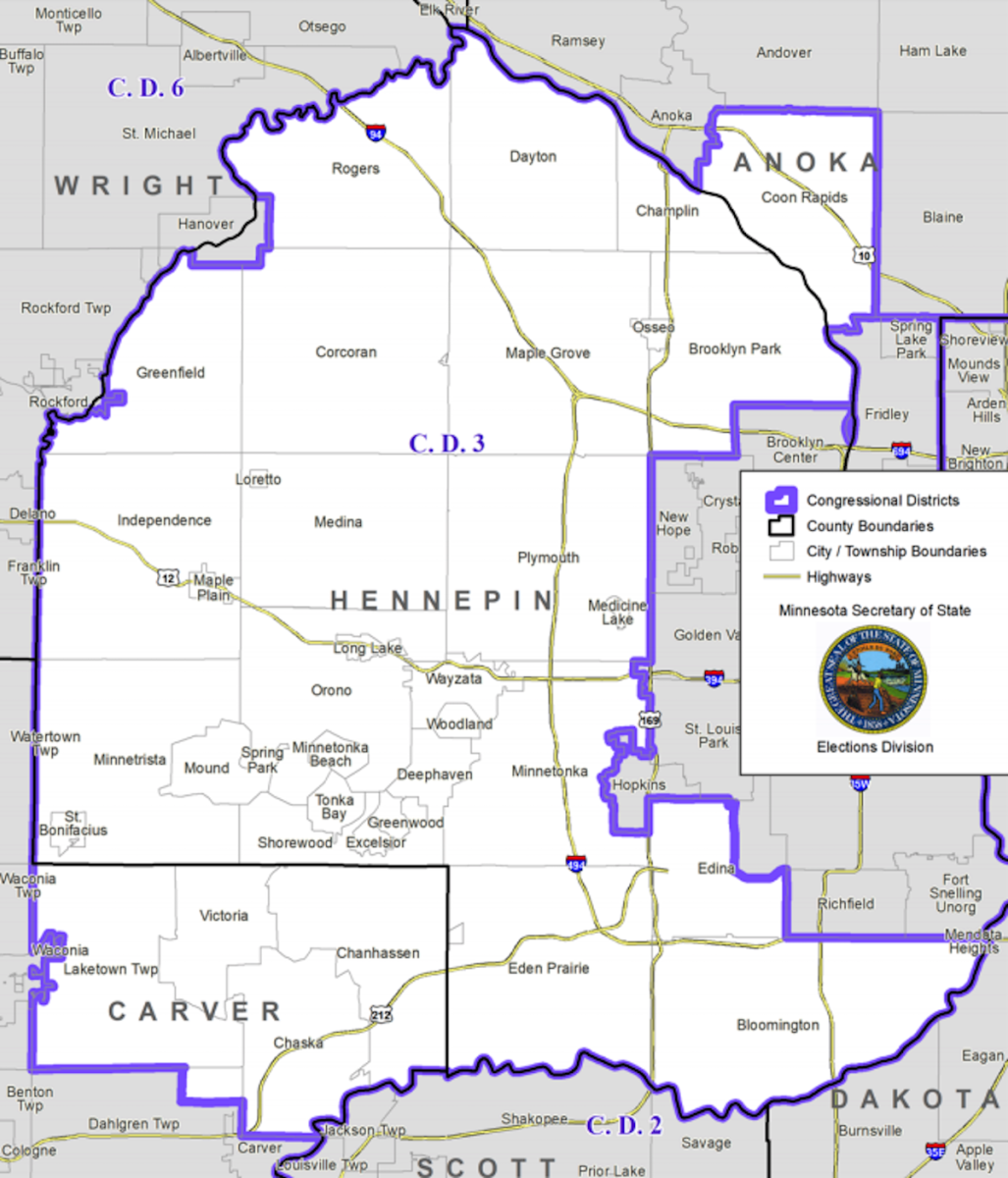 Minnesota's 3rd Congressional District encompasses much of western Hennepin County and portions of Carver and Anoka counties.
