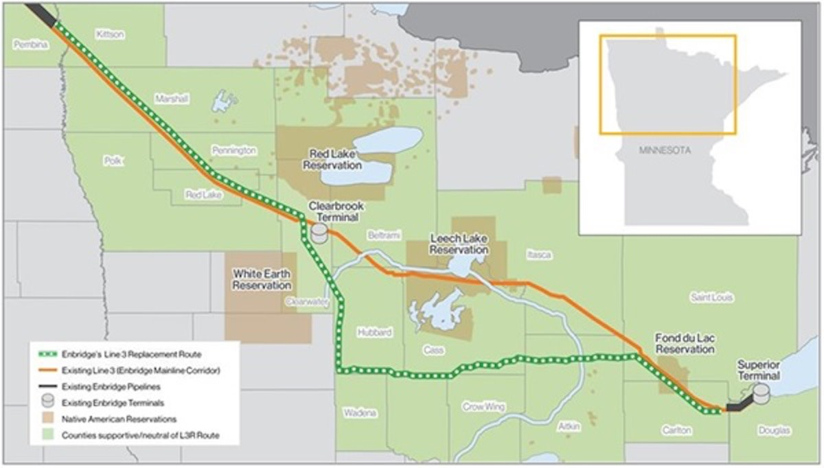 The final route for the Line 3 replacement project.