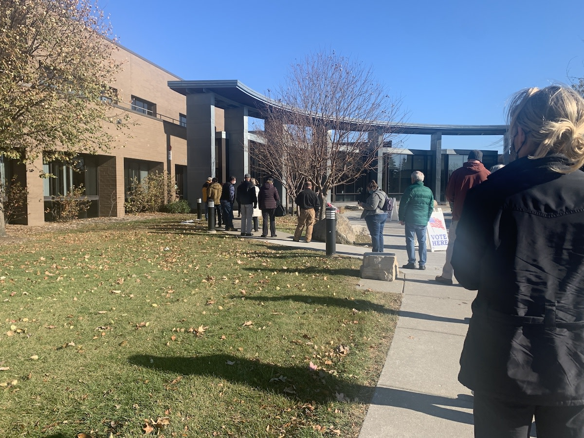 voting plymouth -- A line to vote early in Plymouth on Oct. 28.