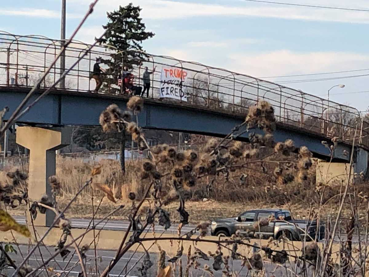 A group of friends demonstrating Saturday afternoon over I-94 in St. Paul after president Donald Trump lost his seat to Joe Biden.