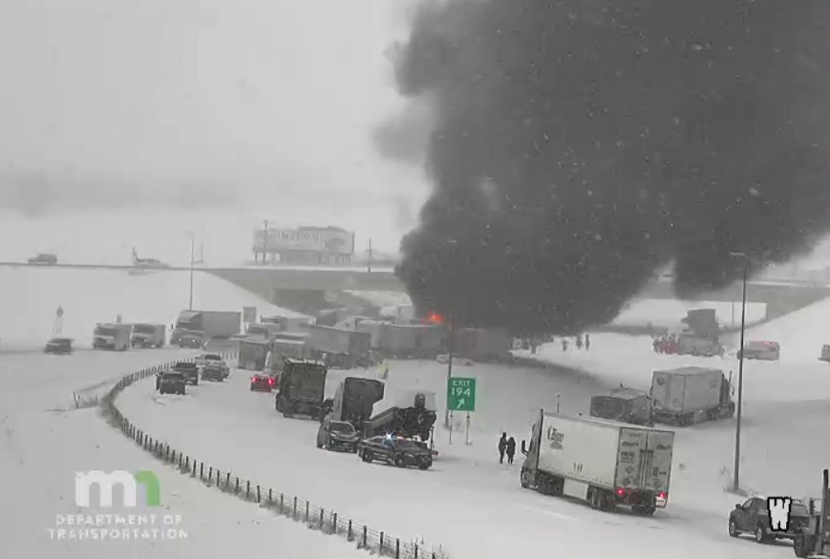 The crash scene around 9:30 a.m.