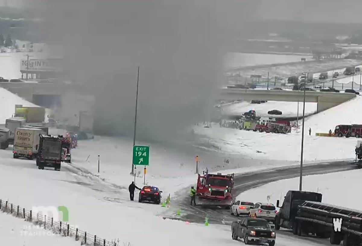 The crash scene at 10:27 a.m.
