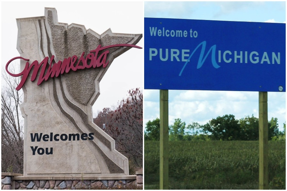 Minnesota and Michigan welcome signs