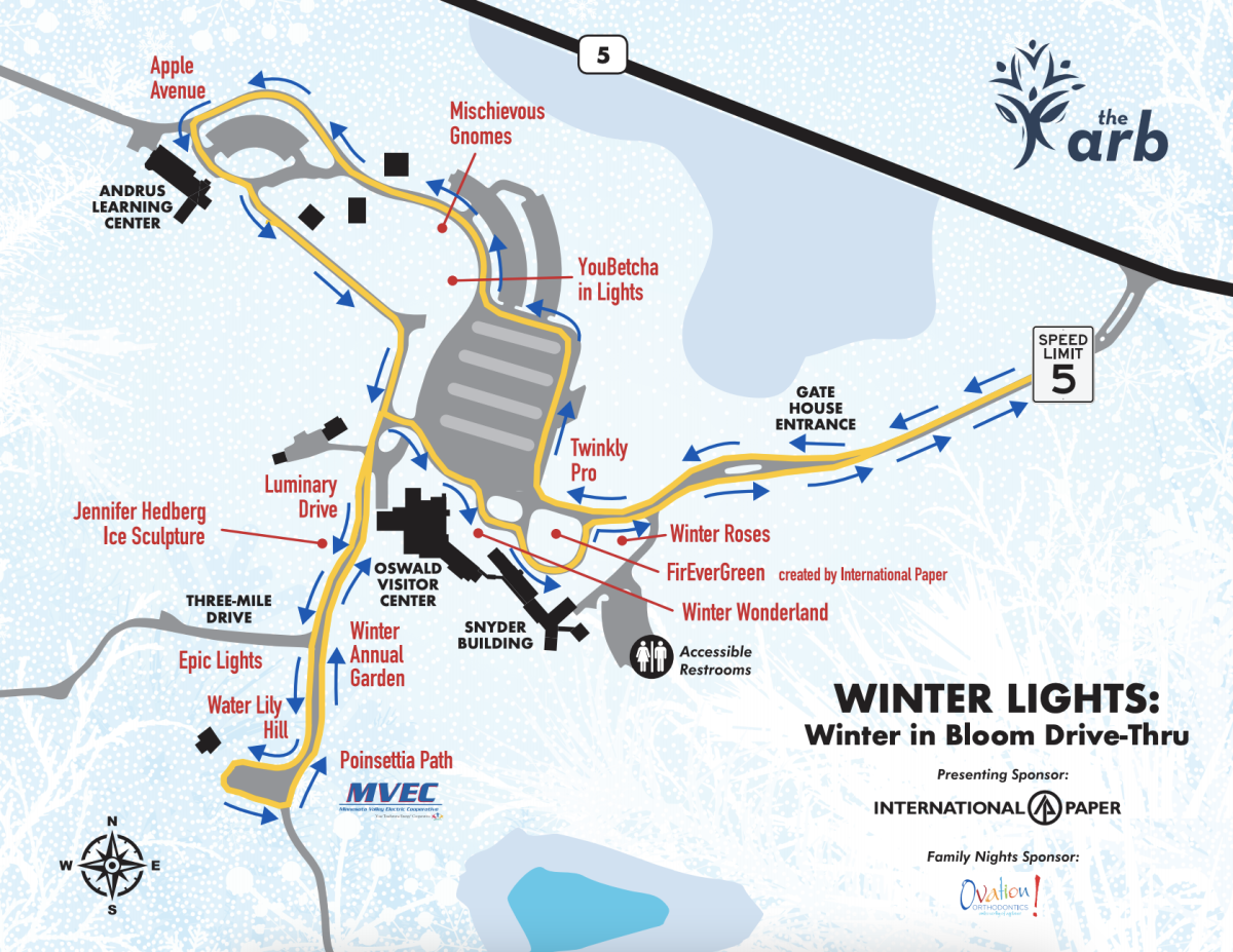 The map for the drive-through winter lights event at the Arb.