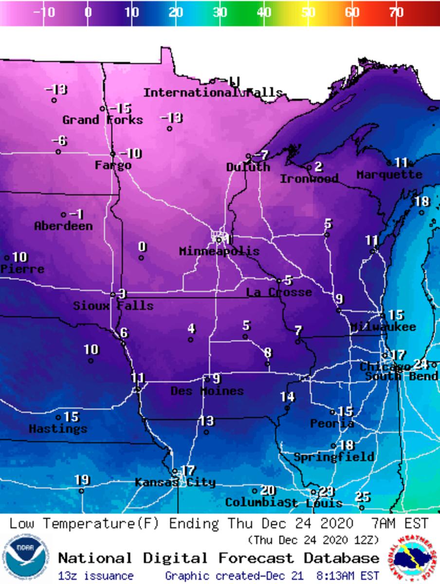 Low-temperature forecast Thursday morning.