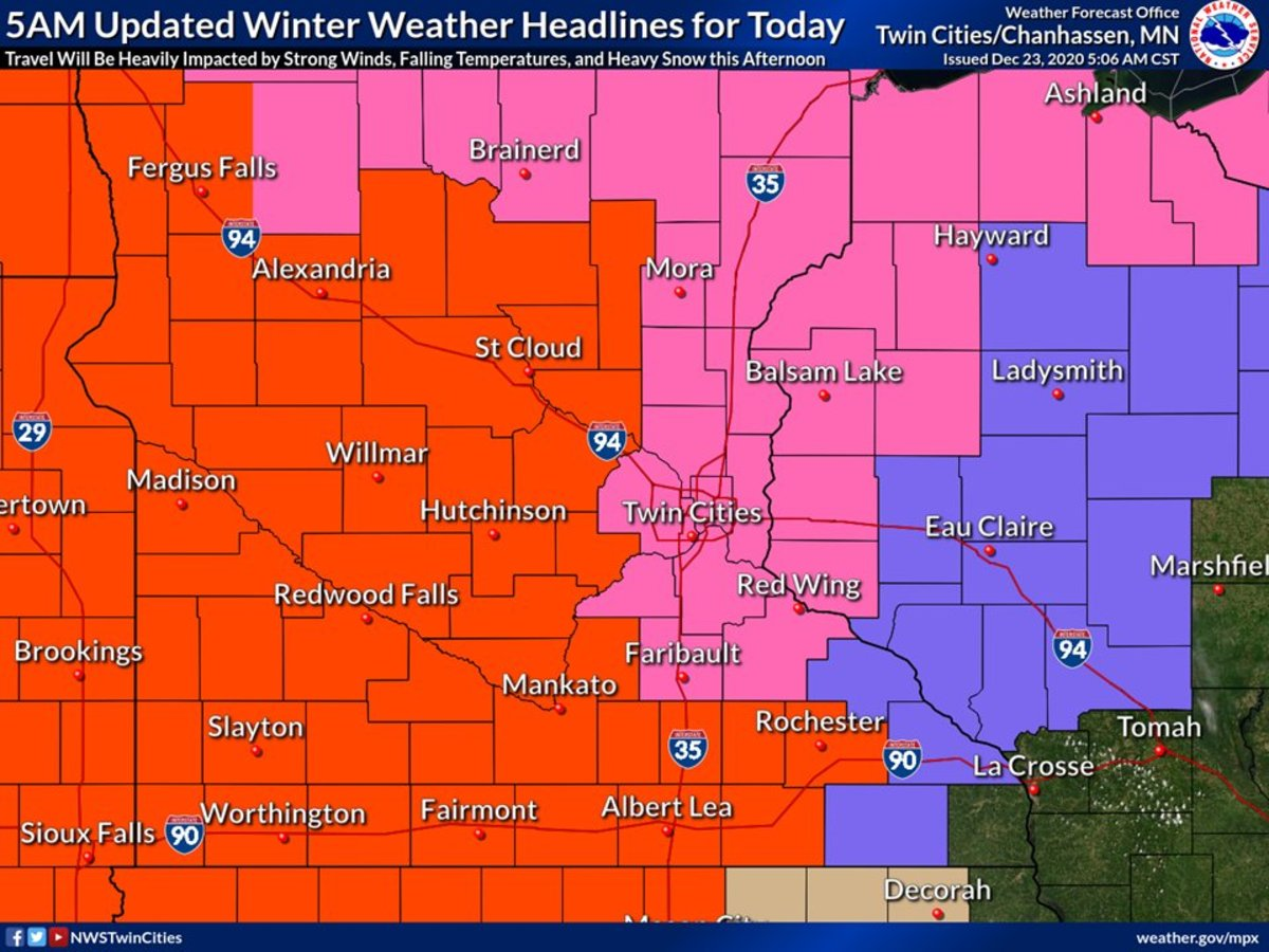 Red is a blizzard warning; pink is a winter storm warning; purple is a winter weather advisory.