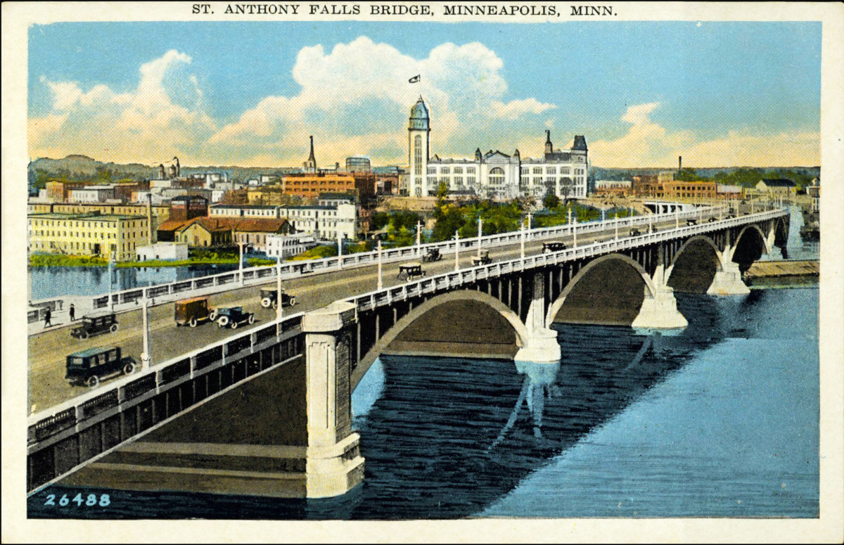 An undated postcard shows the bridge, then called the St. Anthony Falls Bridge, in its early years.