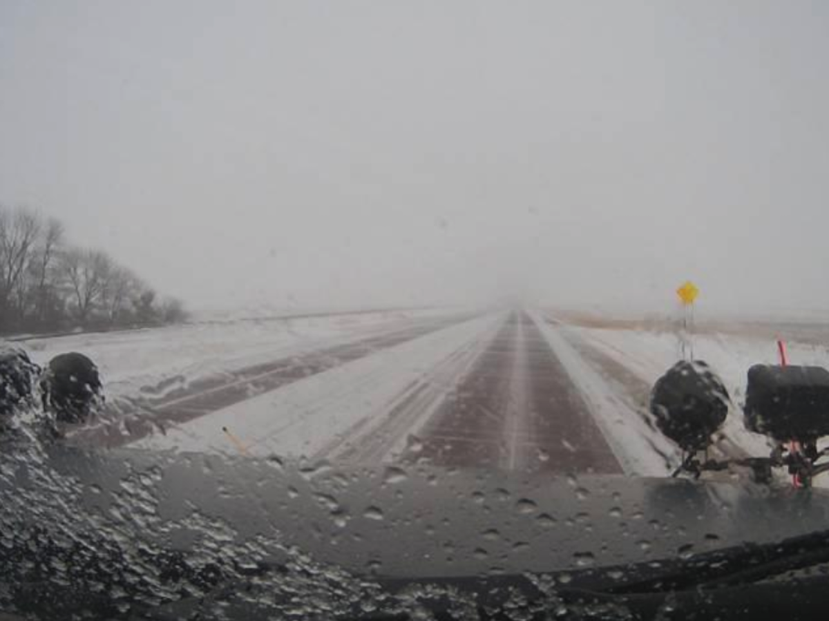 The view from a plow camera on Minnesota 23 near Pipestone, Minnesota, at 11:45 a.m. Tuesday.