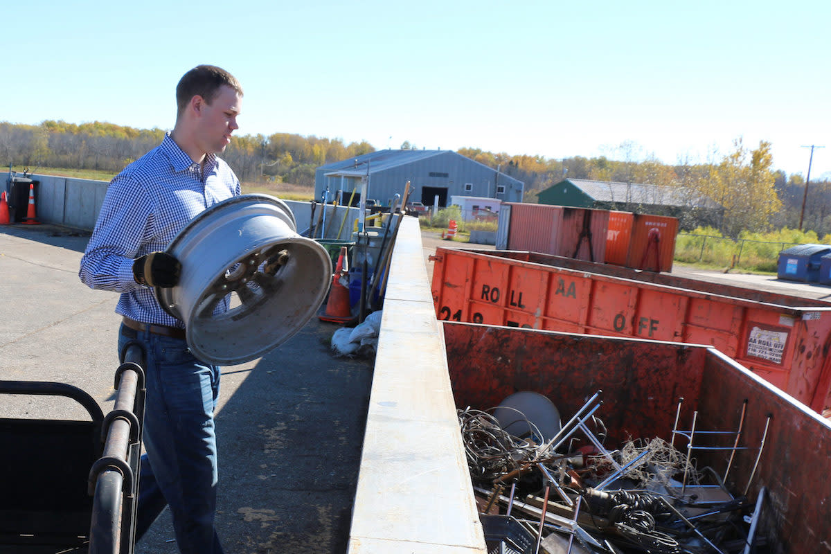 Recycling metals at the Materials Recovery Center in Duluth.