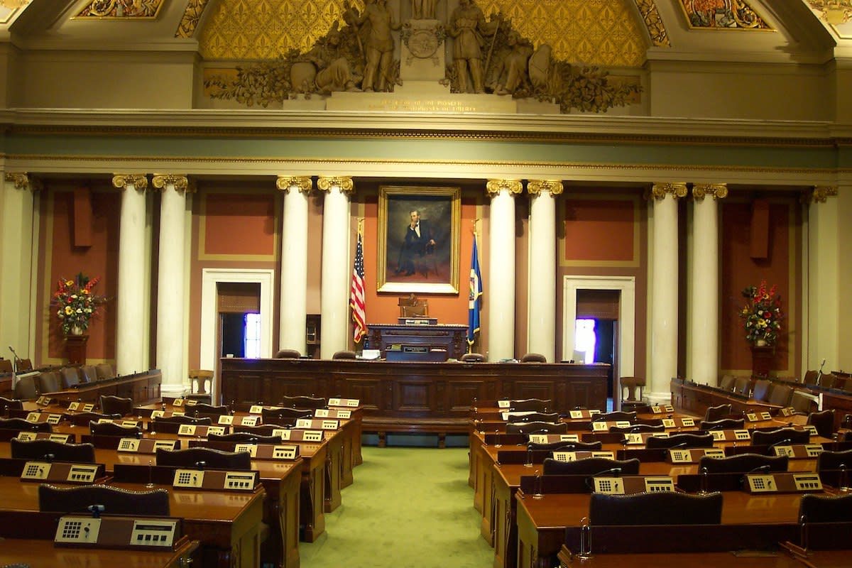 The Minnesota House of Representatives' chamber in the Minnesota State Capitol.