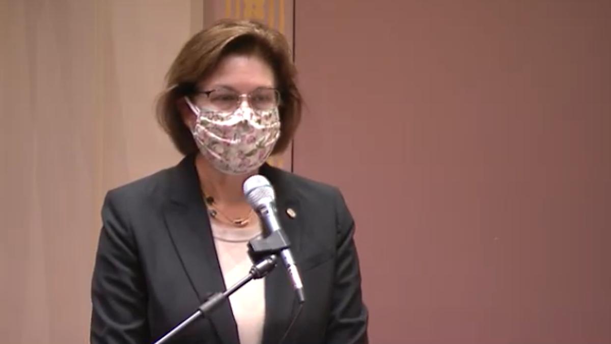 Sen. Melissa Wicklund, DFL-Bloomington, proposing a mask mandate in the Senate on Thursday.