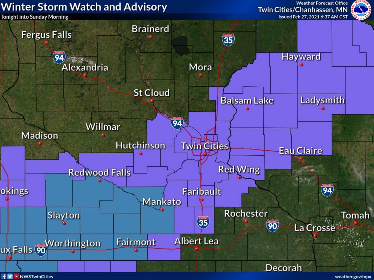 Blue is a winter storm watch; purple is a winter weather advisory.