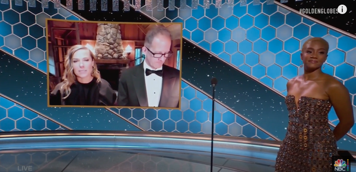 Producer Dana Murray and co-director/Bloomington native Pete Docter appeared via video to accept their award.