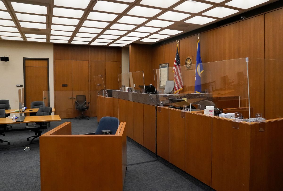The courtroom for Derek Chauvin's trial.