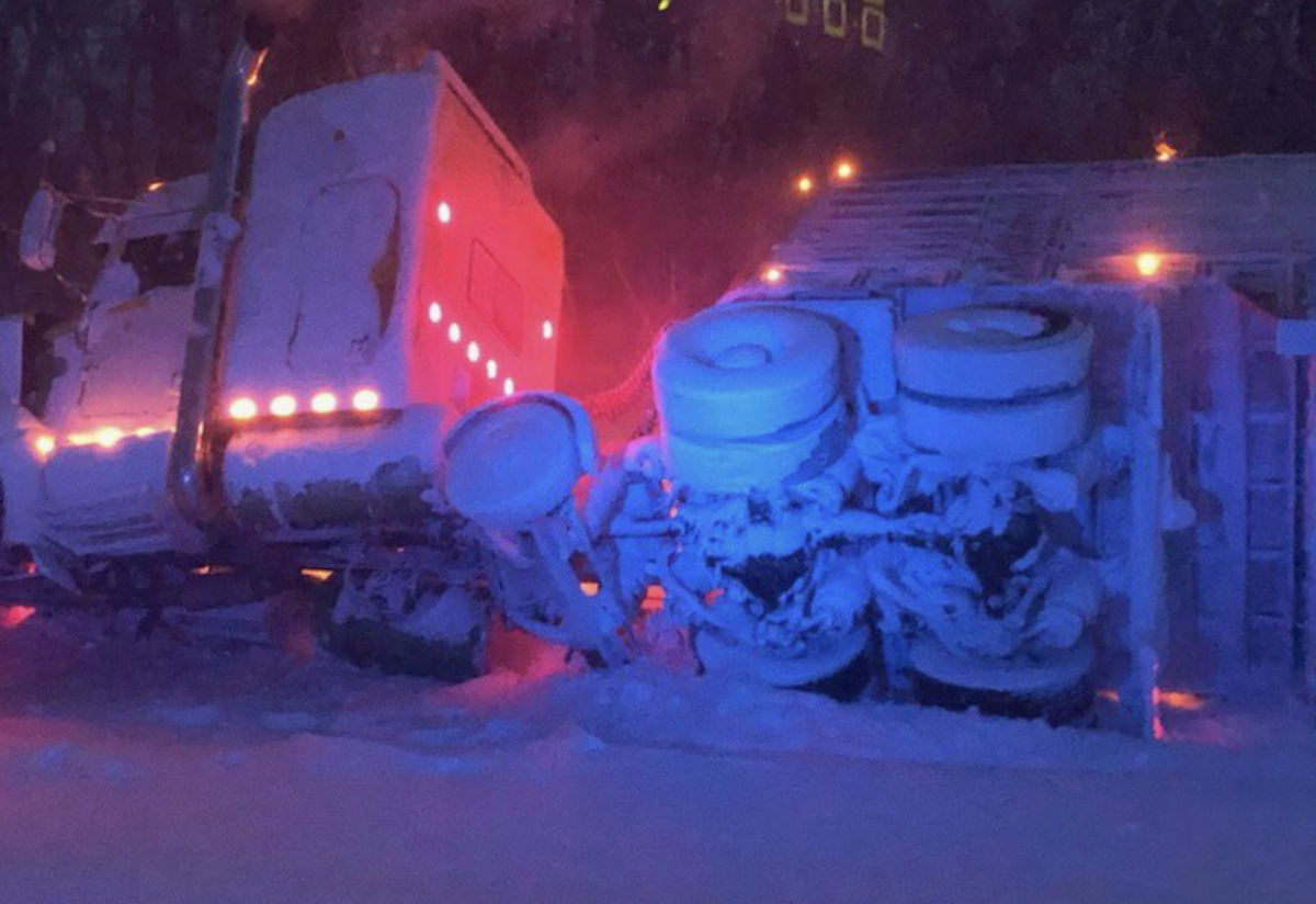 A semi that went off the road in blizzard conditions in northwest Minnesota.